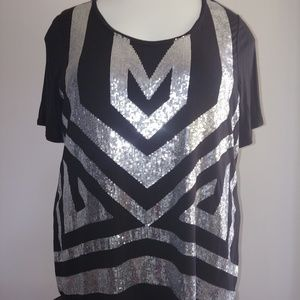 Black silver sequins top